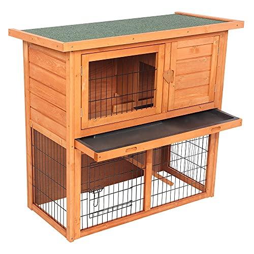 Hengdeqiangk - Cuccia per conigli, per gatti e galline, con recinzione per tartarughe all'aperto in legno, impermeabile, 2 ripiani