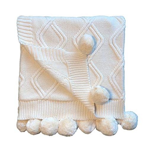 Linen Perch Luxury Cable Knit Pom Pom Baby Nursery Blanket - Premium Boy or Girl in Deluxe Gift Box - Unisex Cotton Knit Toddler Blanket – Baby Décor Blanket - 45 x 35 inches (Cream)