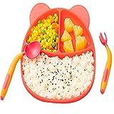 Xia jie sheng huo guan Bebé plato de comedor bebé niños vajilla rejilla de dibujos animados silicona anti caída ventosa tipo aprendizaje comer auxiliar tazón cuchara tenedor conjunto