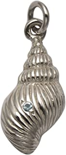 Wild Things Sterling Silver Conch Shell Pendant w/Faceted Aqua Crystal Stone