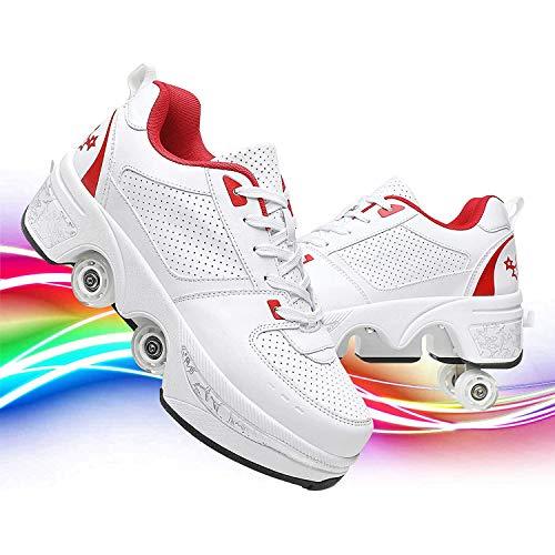 JZLPY Zapatos de Caminata Ajustables de 4 hileras de 4 Ruedas Zapatos de Rodillo de deformación para Hombres y Mujeres Zapatos de polea 2 en 1 Patines de polea Invisibles extraíbles,35