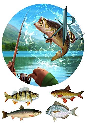 Angler, Fisch,Haken. Tortenaufleger,Geburtstag,Tortendeko,