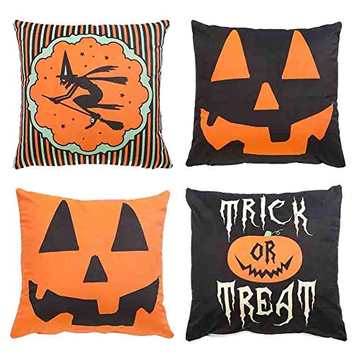 SFGHOUSE Pillowcase Halloween Linen Sofa Cushion Cover with Pumpkin Witches Spiders Trick or Treat 45 * 45cm (H02, 45 * 45cm)