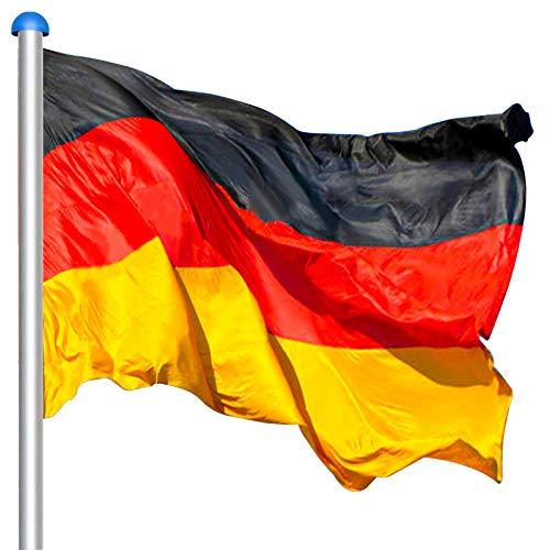 VINGO Fahnenmast,Deutschlandfahne 150 * 90 cm,Aluminium 6,5m witterungsbeständigem Flaggenmast und stabilen Bodenhülse veschönern Sie Ihren Garten