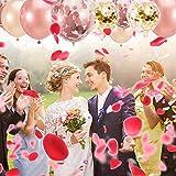 55 Stück Just Married Deko Rosegold Luftballons Set:Helium Buchstaben Folienballons Just Married Banner Girlande,Rose Gold Konfetti Latex Ballons für Bridal Shower Verlobungs Hochzeit Party Dekoration - 2