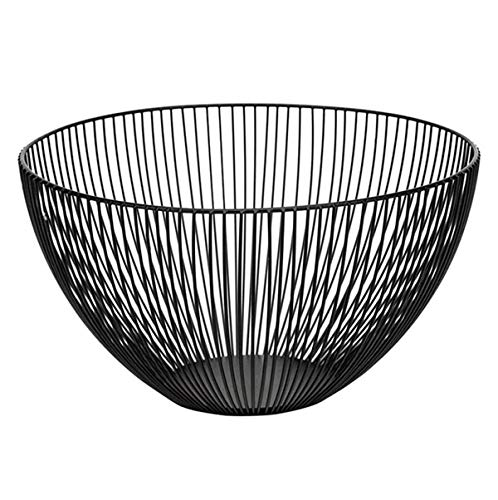 Wire Fruit Basket, Large Round Black Metal Fruit Bread Storage Baskets Bowl Stand for Kitchen Countertop (Round A)