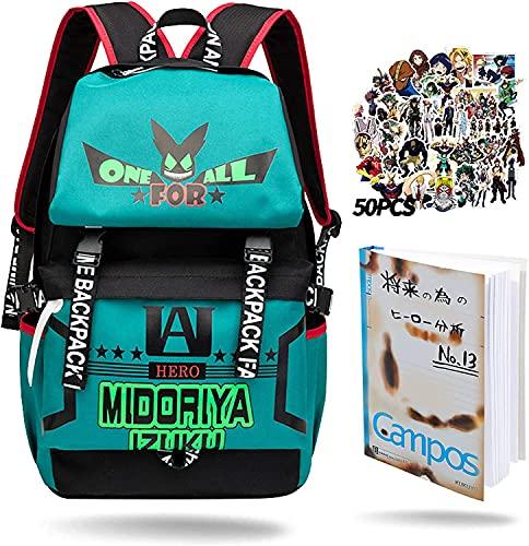 MHA Mochila Izuku Midoriya My Hero Academia Mochila BNHA con cuaderno Izuku