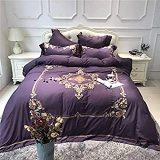 Softta Embroidery Bedding Set European Luxury Style 4 pcs 1 Duvet Cover + 1 Flat Sheet + 2 Pillowcases 100% Egyptian Cotton Purple Queen Size