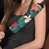 TOADDMOS 2 piezas estilo tropical hawaiano hibisco floral universal para cinturón de seguridad de coche, almohadillas súper suaves y cómodas para cinturón de seguridad para adultos y niños