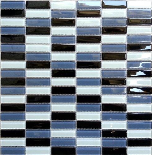 1qm Glas Mosaik Fliesen Matte in Ziegelstein Format Schwarz, Blaugrau und Türkis Weiß (MT0015 m2)