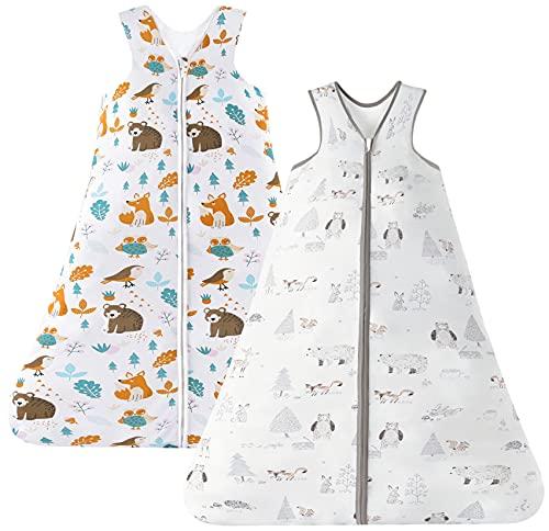 Chilsuessy Sommerschlafsack Baby Schlafsack Kleine Kinder Schlafanzug ohne Ärmel für Sommer und Frühling 100% Baumwolle, Grau Wald+Dschungeltiere, 110/Baby Höhe 110-125cm