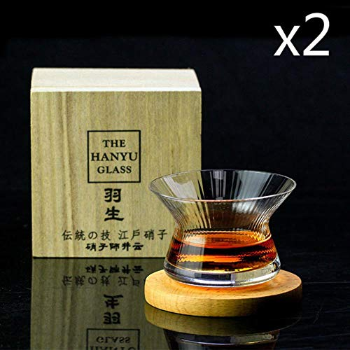 Neat Japan EDO Crystal Whisky Cappie Hanyu Glass Bowl Cup Raya giratoria Barley-bree Copa de vino Brandy Snifter Caja de regalo de madera