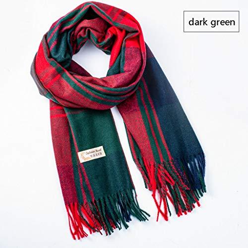 Herfst en winter, wollen deken, voor dames, grote plaid, dik, modieus, warmend, sjaalkraag, handdoek, donkergroen.