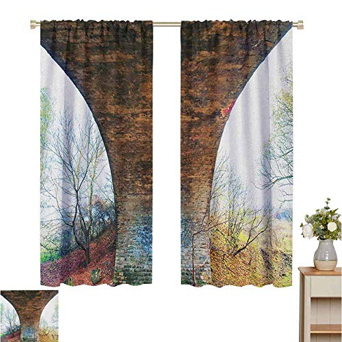 Blackout Curtains for Living Room Blackout Curtain Pillar of Old Stone Bridge in Rural Area Ancient Historic Architecture Landmark Brown Green Shie1ded UV Set of 2 Panels W55 x L39