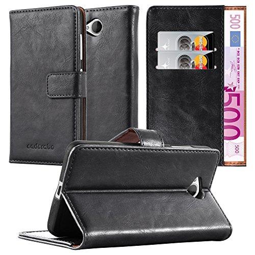 Cadorabo Hülle für Nokia Lumia 650 in Graphit SCHWARZ – Handyhülle mit Magnetverschluss, Standfunktion & Kartenfach – Hülle Cover Schutzhülle Etui Tasche Book Klapp Style