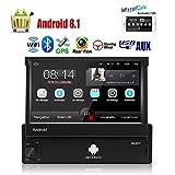 1 Din Android 8.1 Autoradio avec écran Tactile 7 '' Poste Radio Voiture Navigation GPS Audio embarquée Bluetooth Panneau Facial Amovible/AUX/SWC/WiFi/USB/Radio FM/Miroir d'écran