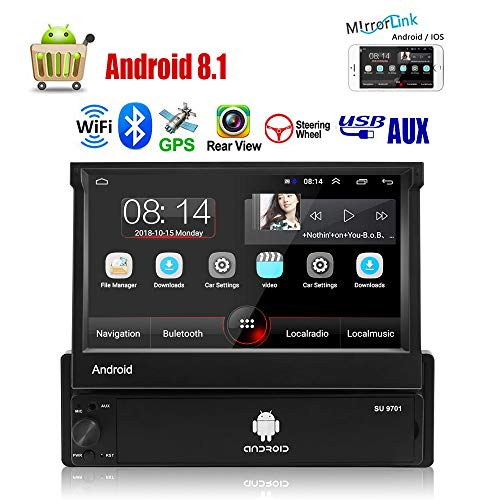 Single Din Autoradio Android 8.1 Autoradio mit 7 '' Touchscreen im Dash GPS Navigationskopf 1Din Bluetooth Video Player Abnehmbare Frontplatte/AUX/SWC/WiFi/USB/FM Radio/Bildschirmspiegel