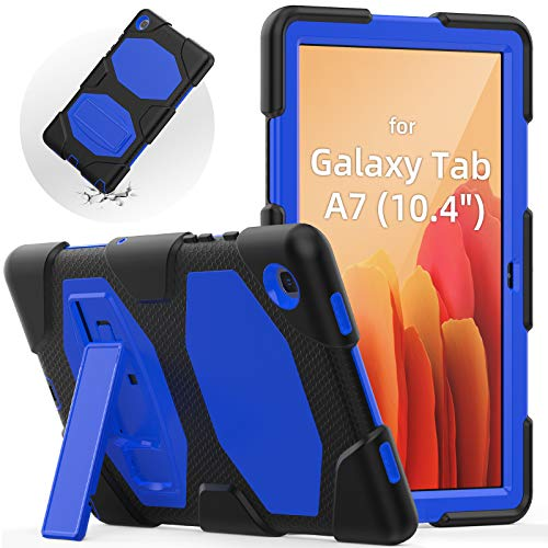 SEYMAC Samsung Tab A7 2020 Case 10.4 Inch, Samsung Tablet SM-T500/T505 Cover, Shockproof Full Body Protective Case Kids with Adjustable Built-in Kickstand for Samsung Galaxy Tab A7, (Black+Blue)
