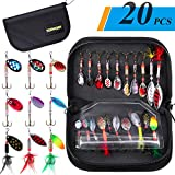 TOPFORT Fishing Lures, Fishing Spoon,Trout Lures, Bass Lures, Spinning Lures,Hard Metal Spinner Baits kit with Carry Bag…