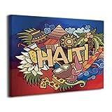 Haiti Schriftzug Doodles Elements Symbole Leinwand Drucke