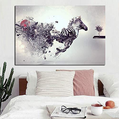 Canvas schilderij, nordic posters en zen luipaard prints en de kus van het kind, moderne muur foto voor de woonkamer 58x90cm GEEN frame