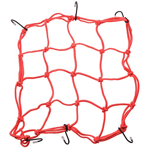 WOOSTAR 30cm x 30cm Motorcycle Heavy duty Elasticated Bungee Luggage Cargo Net with 6 Hooks for Motorcycle ATV Bike Car Truck Red