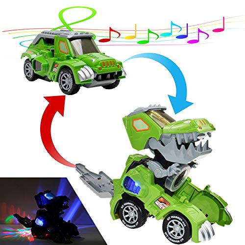 Automatic Transforming Dinosaur Car Toys 2-in-1 Dino Robot Vehicle Car Battery Power (Not Include) with LED Light Music for Kids Great Gifts (Green)
