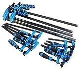 Lot de 12 serre-joints pour bois avec manche bleu, longs et rapides en forme de F - 10 x 15 cm, 10 x 30,5 cm, 10 x 61 cm