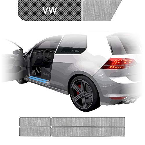 BLACKSHELL Einstiegsleisten Schutzfolie + Premium Rakel für Golf 7 AU Limo & Kombi 2012-2019 (auch Facelift) Alu gebürstet Silber - SET für alle Einstiege mit Anleitung - passgenaue Lackschutzfolie