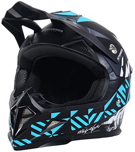 Actionbikes Motors Kinder Cross Helm Hornet ECE 22/05 Norm - Straßenzulassung - Motocross - Crosshelm - Downhill - Fullface (Dunkelblau, S)