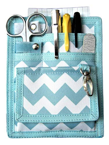 6 Piece Protective Lab Coat Pocket Organizer Kit has Popular Sky Blue Chevron Pattern You're Sure to Love - Perfect Gift For Nurses, Students & You!