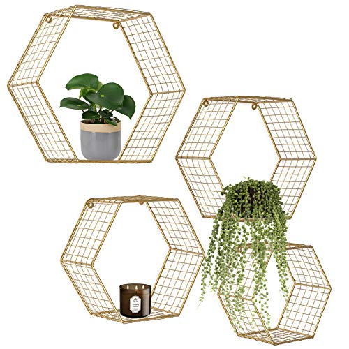 Set of 4 Gold Hexagon Wall Shelves, Floating Decorative Wire Wall Mounted Shelf, Geometric Floating Mesh Shelves, Boho Style Deep Gold Metal Shelving