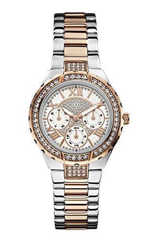 GUESS dames zilveren en rosé gouden armband horloge