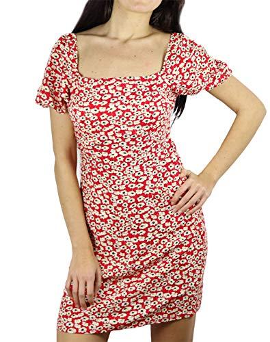 Krótka Letnia Sukienka W Czerwone Kwiaty - Waga Ciężka - Niewidoczna (34)