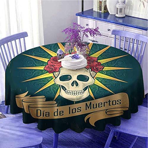 Mantel redondo de día de los muertos con diseño de calavera de azúcar con rosas y Dia de los Muertos Print Grunge Style Obra de arte Celebración festival de 170 cm de diámetro verde azulado oscuro