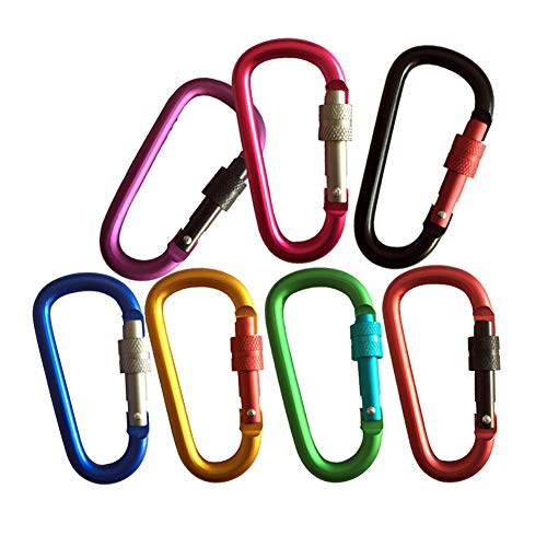 Tipo D de mosquetón de doble color mate de bloqueo de mosquetón clips de llavero mosquetón de seguridad de aleación de aluminio con cerradura (color al azar)