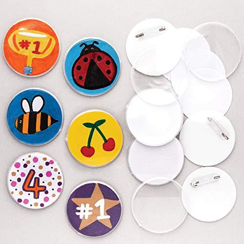 Baker Ross Bastelset für Anstecker (10 Stück) für Kinder zum Dekorieren und als Mitgebsel für Kinder