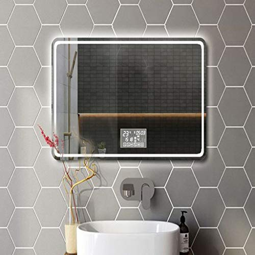Hfyo Badkamerspiegel met led, rechthoekig, zonder frame, met touch-schakelaar, anti-condens- en temperatuur, wit licht, warm licht, make-up spiegel