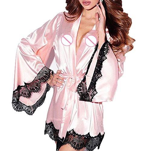 MRULIC Damen Lässige Tiefer V-Ausschnitt Pyjama Lace Trimmed Bademantel Overall Nachtwäsche Mode Kurze Top Bowknot Plus Size Uniformen Hosenträger Rock Temptation(Rosa,EU-34/CN-S)