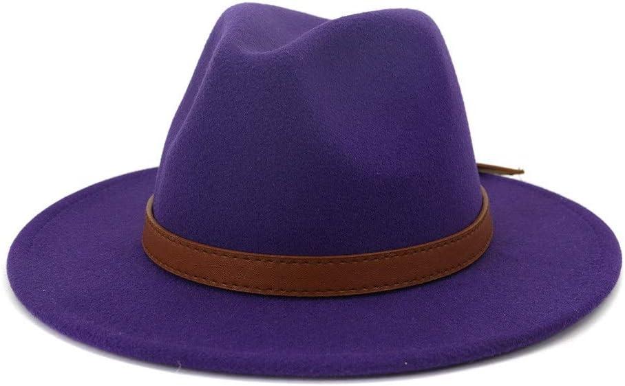 no-branded Autumn Winter Men Women Wide Brim Cotton Jazz Fedora Hat Retro Solid Color Leather Decoration Formal Hat ZRZZUS (Color : Purple, Size : 59-60cm)