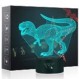 Luce Notturna Dinosauro 3D, Crenze LED Illusione Lampada, Luce del Sonno del bambino, Regali per Feste di Compleanno per Bambini