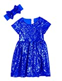Cilucu Flower Girl Dress Baby Toddlers Sequin Dress Kids Party Dress Bridesmaid Wedding Gown Birthday Dress Royal Blue 3T-4T