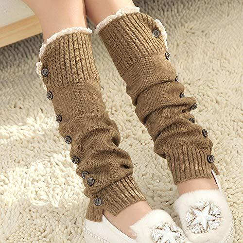 FFAA Leggings De Mujer, Tejido, Leggings, Calcetines Largos, Calidez, Botones, Pila De Calcetines 2 Pcs-Kaqi_Un Tamaño