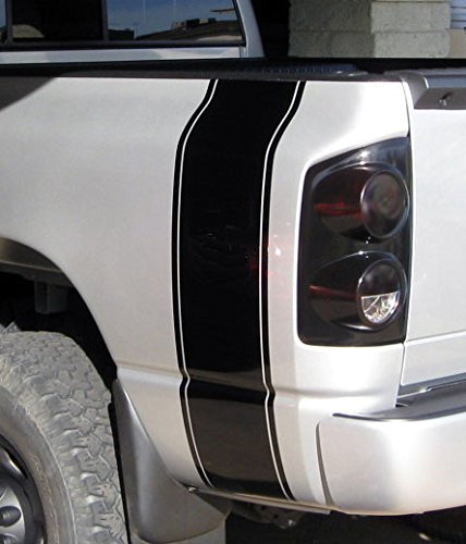 INCreation Company Compatible with Any Truck Rear Bed Side Plain Stripes Decals, Black Vinyl Stickers, Racing Custom auto Graphics Colorado Ranger Titan Chevy Frontier Frontline