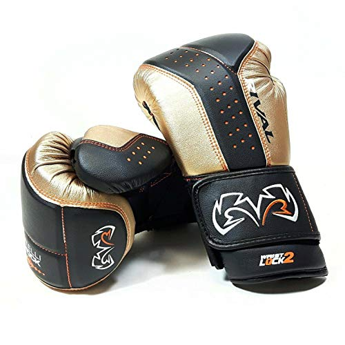Rival Boxing RB10 Intelli Shock Bag Handschuhe, Schwarz / Gold, m
