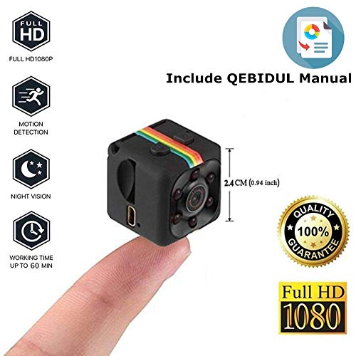 Mini Camera Spy, QEBIDUL Cop Hidden Full HD 1080p Wireless Nanny Infrared Night Vision Motion Activated Smallest DVR Secret Cam For Home Office Security