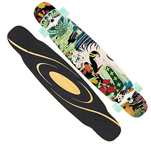 FUFU Patinetes Skateboard Patineta de Baile Adecuado for Adolescentes/Adultos. Tabla de 46.5x9.8 Pulgadas de Largo Pata Doble de Arce de 7 Capas 82A Rueda de PU de Alta Elasticidad, Rodamiento ABEC