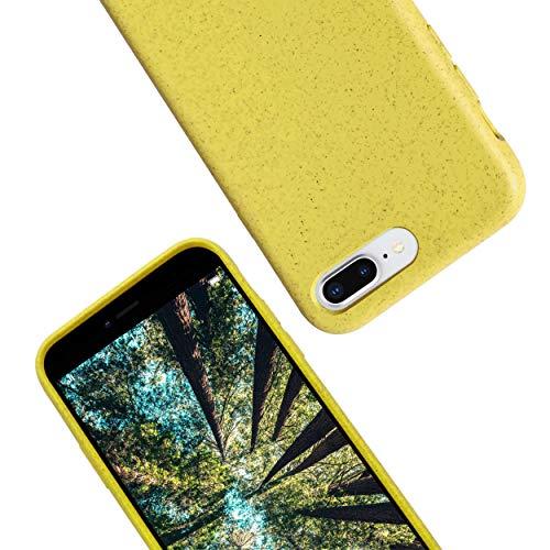 eplanita Eco Cover iPhone 7 Plus e 8 Plus, Biodegradabile Fibra Piante e TPU Morbido, Custodia Protegge dalle Cadute, Ecologico e Zero Rifiuti (Giallo, iPhone 7/8 Plus)