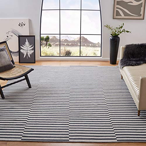 Safavieh Montauk Collection MTK715A Handmade Flatweave Ivory and Grey Cotton Area Rug (6' x 9')