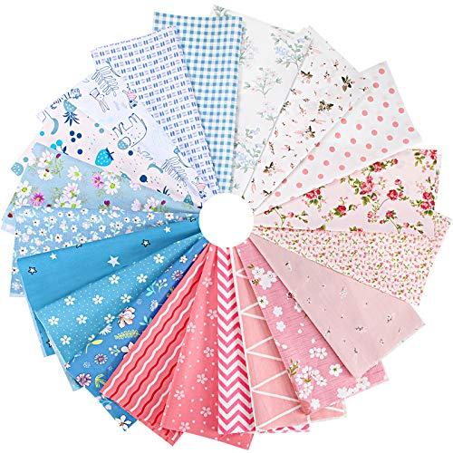 20 Piezas 25 x 25 cm Telas de Algodón Patchwork Paquete de Tela Estampada Patrones Cuadrados Surtidos Telas Florales de Arte Artesanía Bricolaje de Costura Acolchada Serie Rosa y Azul